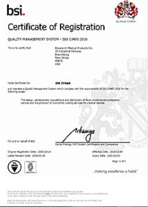 Hydromer ISO 13485 Certificate
