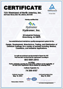 Hydromer ISO 9001 Certificate Thumbnail